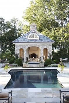 Stone Pool House | Camille Styles | Stone Pool House, via houzz.com. I like the placement of the pool house and how the front of it is open.