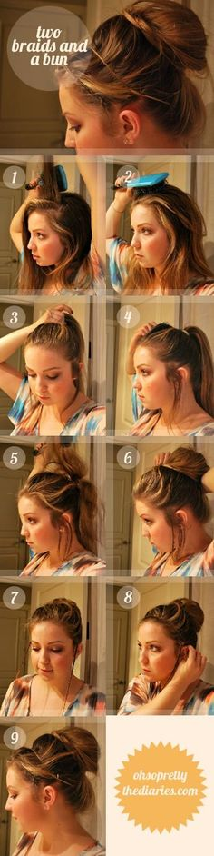 Easy up do hairstyle with two braids and a bun #braids #updo #hair