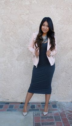 Midi bodycon dress, pink moto jacket, coin chain statement necklace and nude pumps for today's outfit of the day