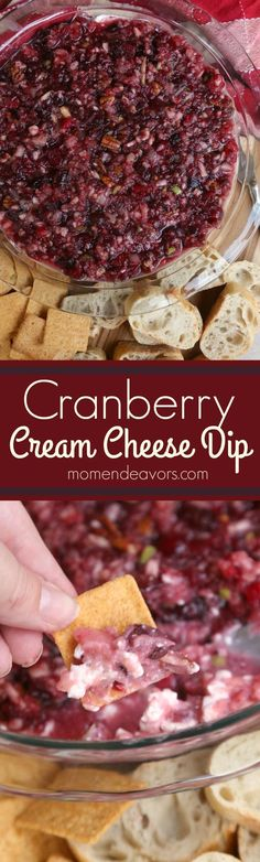 cool Cranberry Cream Cheese Dip Recipe - a delicious holiday appetizer, perfect for y...