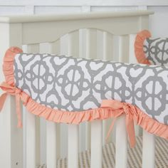 This is the perfect match for your Coral and Gray Mod Bumperless Baby Crib Bedding and nursery bedding. It is a great addition to any baby girl crib bedding. Caden Lane, Jack and Jill Boutique