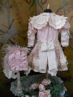 ~~~ Wonderful French Rose Silk Dress with Pretty Bonnet ~~~ from whendreamscometrue on Ruby Lane