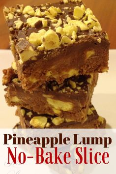 This is such a delicious and decadent slice - but simple and quick to make! Pineapple Lumps are a New Zealand institution - lovely chunks of chewy pineapple No Bake Slices, Skin Bumps, Frozen Pineapple, Pineapple Recipes, Wheat Grass, Natural Cures, Herbalism, The Cure, Recipes