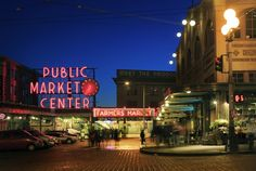 """Pike's Place Market"" by Inge Johnsson, Frisco (Dallas/Fort Worth area) // The iconic market in downtown Seattle captured as the night slowly sets in. // Imagekind.com -- Buy stunning, museum-quality fine art prints, framed prints, and canvas prints directly from independent working artists and photographers."