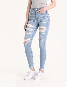 American Eagle Outfitters Men's & Women's Clothing, Shoes & Accessories AE Ne(X)t Level 360 Highest Waist Jegging, Crushed Ice Cute Ripped Jeans, Ripped Jeggings, High Waist Jeggings, Ripped Jeans Outfit, Torn Jeans, Light Wash Ripped Jeans, Jeans Denim, Jean Jacket Outfits, Crop Top Outfits