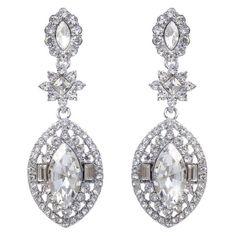 Art Deco Bridal Oval Drop Bridesmaid Gauges Plugs Earrings Dangle Rhinestone Crystals #earrings #wedding