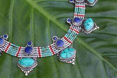 Handmade bohemian style turquoise & lapis lazuli necklace - $38.5 USD