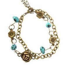 Fashion Girls Womens Golden & Silvery Wraps Beaded Chain Rose Pendant Garland Charm Bracelet   Gothic Dress Code