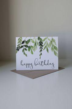 Happy Birthday Card Ivy Watercolor Creative Cards Diy