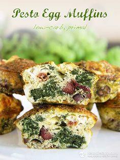 Pesto Egg Muffins (low-carb, primal)