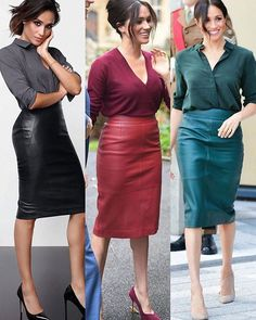 Same style, blouse and leather skirt - Office Outfits Estilo Meghan Markle, Meghan Markle Style, Mode Outfits, Office Outfits, Fashion Outfits, Office Wear, Office Uniform, Classy Outfits, Stylish Outfits