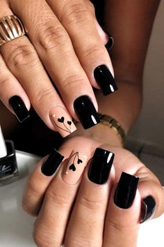 54 Elegant Black Nail Art Designs and Ideas . 54 Elegant black nail art designs and ideas / A Heart Nail Designs, Black Nail Designs, Acrylic Nail Designs, Nail Art Designs, Nails Design, Acrylic Art, Classy Nails, Stylish Nails, Cute Nails