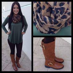 Leopard Scarf, ''Army'' Green Long Sleeve, Black Leggings or Pants, Cognac Boots