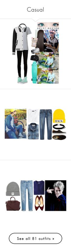 """""""Casual"""" by jjangjjangbbungbbung ❤ liked on Polyvore featuring dVb Victoria Beckham, Yves Saint Laurent, Vivitar, Eos, Converse, Wings + Horns, MANGO, Mossimo, Vans and Topshop"""