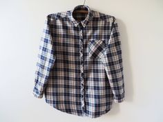 Plaid Women Shirt Checked Shirt Cotton Women Shirt Grunge Oxford Shirt Long Sleeve Shirt Hipster Indie Lumberjack Soft Work Shirt Large Size by VintageDreamBox on Etsy