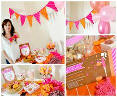 Autumn Baby Shower Sweet Table Decoration. { Hot Pink, Oragne and Dark Brown}