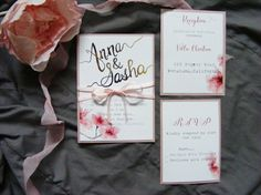 Watercolor botanical wedding invitation with cherry by HandMadeowo