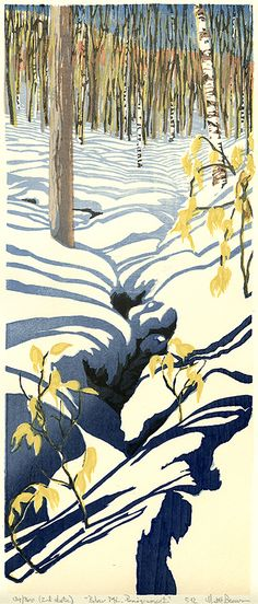 Below Mt. Pemigewasset. Matt Brown. Color woodblock print, 2012. Edition 300. Second state. Image size 16 3/4 x 7 inches.