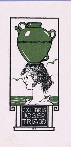 ≡ Bookplate Estate ≡ vintage ex libris labels︱artful book plates - Ex Libris, Super Petite, Greece Mythology, Jugendstil Design, Tarot, Personalized Books, Book Illustration, Vintage Posters, Printmaking