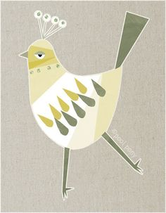 white bird  LARGE mid century design art print by poolponydesign