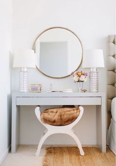 This vanity is actually an Ikea Hack - Kristen Kerr had her dad spray paint a plain white Ikea Malm dressing table a high gloss gray then paired it with a brass mirror from - from design sponge - Daily Home Decorations Ikea Malm Series, Home Bedroom, Bedroom Decor, Master Bedroom, Modern Bedroom, Bedroom Small, Stylish Bedroom, Bedroom Table, Master Closet