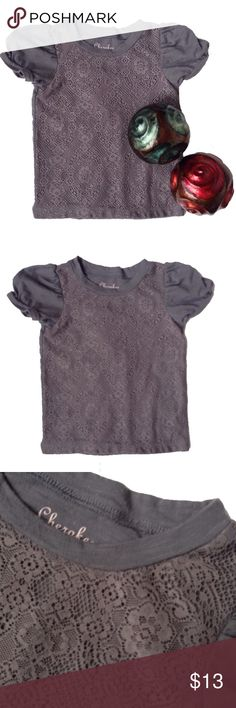 Cherokee Lace Overlay Tee 4T Rendered with a sweet little lace overlay on a simple tee is the perfect piece for your little girl's casual wardrobe. Crafted in pure cotton, it boasts a super-soft feel for your little lovely. Cherokee Shirts & Tops Tees - Short Sleeve