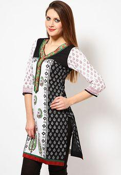 3/4Th Sleeve Embroidered Black Kurti Online Shopping - Shakumbhari   SH268WA46XTXINDFAS