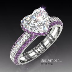 Kaylynn wants this ring, but instead of amethyst, she wants pink sapphires or another pink stone! Amethyst engagement ring - Silvet with a center diamond ,a frame of Amethysts and Blaze® diamonds on the shank. Heart Jewelry, Diamond Jewelry, Diamond Rings, Jewelry Rings, Fine Jewelry, Heart Ring, Diamond Heart, Jewlery, Solitaire Rings