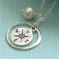 Compass Necklace with Pearl in Silver, North Star, Traveler, Journey Necklace, Graduation Gift, June Birthday