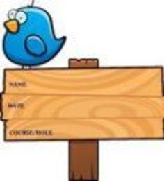 Chubby Blue Bird Standing Atop A Wooden Sign clip art