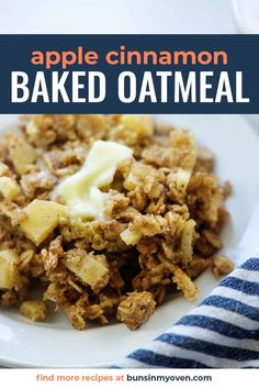 This easy baked oatmeal recipe is made with both applesauce and fresh apples! It's so simple and super cozy on a chilly morning. #apple #recipe #oatmeal #breakfast Apple Breakfast, Breakfast Items, Sweet Breakfast, Perfect Breakfast, Breakfast Dishes, Breakfast Recipes, Breakfast Cereal, Breakfast Cake, Apple Cinnamon Oatmeal
