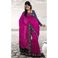 Rani pink saree.
