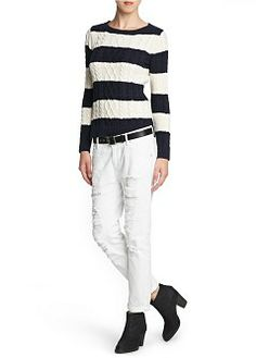 MANGO - CLOTHING - Cardigans and sweaters - Cable-knit striped sweater