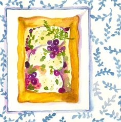 Starter with chevre cheese and blue berries, made by www.annafeer.nl
