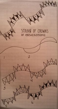 String of Crowns. Tangle Pattern by Linda Rea / texasdoxiemama.