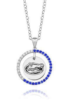"Florida Blue Cz Circle Necklace in Sterling Silver. Officially Licensed. Chain Length is 16"" with a 2"" Extender. Number of Stones: 35. Charm Size is 18mm (size of a penny). ""the indicia featured on this product is a protected trademark owned by the respective sorority""."