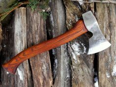 Hand-forged #A57 Scandinavian Axe with Ash haft by north river custom knives.