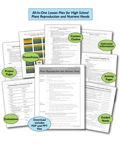 12 Plant Reproduction and Nutrient Needs High School, All-In-One Lesson Plans