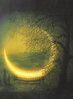 Gold Moon and Green Hues in Woods/Forest. Fantasy Art.