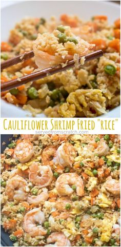 """Watching your carbs? Then this Cauliflower Shrimp Fried """"Rice"""" is the perfect, healthy, quick and easy meal that'll satisfy that fried rice craving, without the rice! Watching your carbs? Then this Cauliflower Shrimp Fried Healthy Rice Recipes, Vegetarian Recipes Dinner, Healthy Cooking, Healthy Eating, Healthy Quick Meals, Healthy Fried Rice, Quick Shrimp Recipes, Shrimp Meals, Dinner Recipes"""