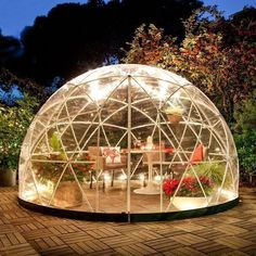 THE GARDEN IGLOO 360 DOME with PVC Weatherproof Cover   Conservatory   Greenhouse   Unique Garden Ideas   Sun Room   Garden Room   Garden Lighting   Fairy Lights   Winter Garden #conservatorygreenhouse #uniquegardeningideas #greenhousegardening