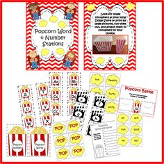 AWESOME set!  Includes math, too!!!  Popcorn Alphabet, Word Wall, Words & Number Stations