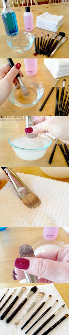 cleaning-makeup-brushes-vert  You will surprised to see all the makeup that is left in the water. How to properly clean your makeup brushes. (a tablespoon of white vinegar in a cup of hot water, and a 20 minute soak, followed by a hot, then cold rinse and pat dry will do it. Disinfects, dissolves grease/makeup, leaves no film, and inexpensive.)