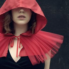 Unusual rendition of the Little Red Riding Hood cape... can't imagine actually wearing this anywhere, but it's kind of awesome.
