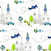 Les Monsieurs En Ville in Blue by Michael Miller Fabrics DC6095-BLUE