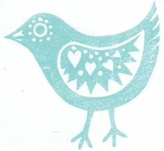 Easter chick card from lino cut