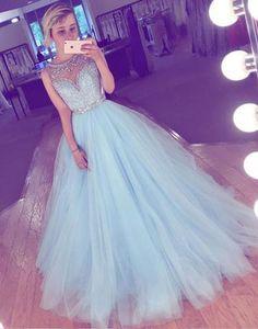 sky blue prom dress,long prom dress,tulle prom dress,A-line prom dress,cheap prom gown,beading prom dresses DS24