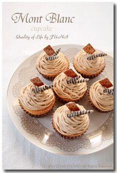 mont blanc dessert cupcake w/Recipe (Japanese)