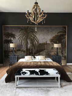 Discover recipes, home ideas, style inspiration and other ideas to try. Bedroom Green, Home Bedroom, Bedroom Decor, Master Bedrooms, Wallpaper Headboard, Earthy Home Decor, Headboard Designs, Headboard Ideas, Headboards For Beds