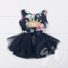 e2dfccbd3 Birthday Dress Gold Crown with her AGE on Navy Floral Sleeveless | Grace  and Lucille First